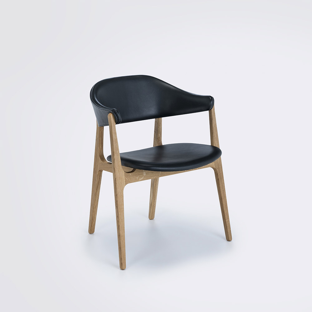 DINING CHAIR // Black Leather Camo // Solid Oak Frame