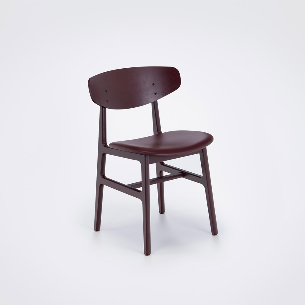 DINING CHAIR // Oxblood Painted Back and Oxblood Leather // Solid Oxblood Painted Frame
