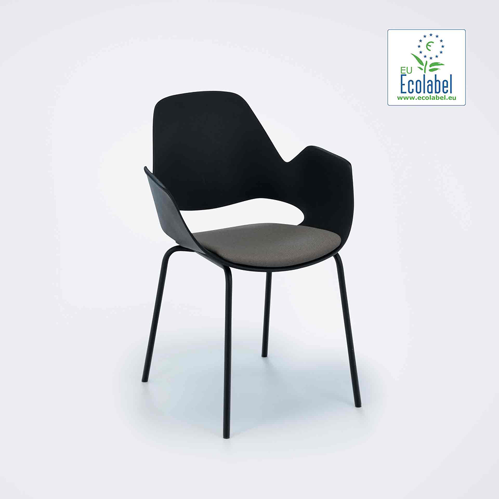 DINING ARMCHAIR WITH PADDED SEAT // Beige // Metal tube legs