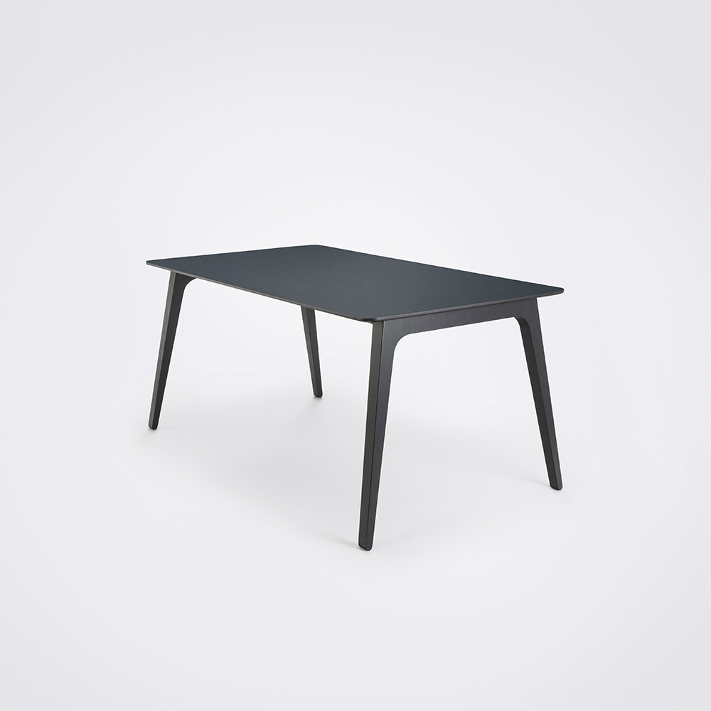 DINING TABLE 168cm // Smokey Blue Linoleum // Black Edge