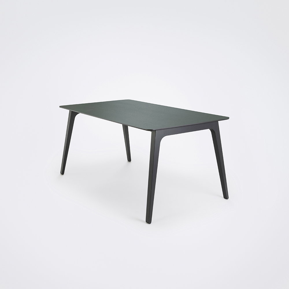 DINING TABLE 168cm // Dark Green Linoleum // Black Edge