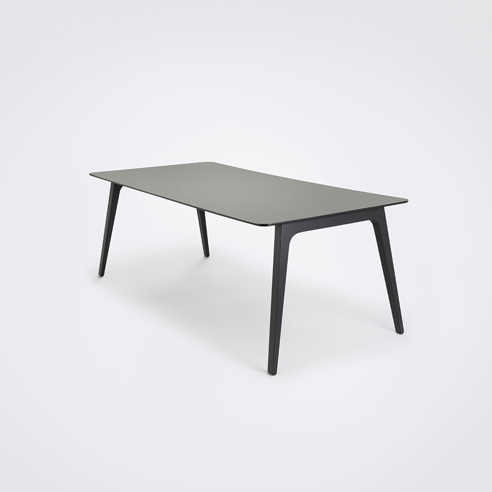 DINING TABLE 208cm // Ash Gray Linoleum // Black Edge