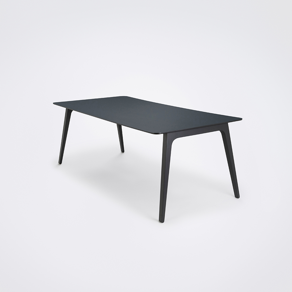 DINING TABLE 208cm // Smokey Blue Linoleum // Black Edge
